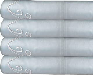 Made in The USA 300TC 100% Cotton Sateen Scroll Sheet Set, by Veratex