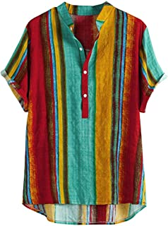 iNoDoZ Men's Shirts Colored Oil Painting Stripe Print Summer Fashion Stand Collar Short Sleeve Shirt Top Blouse