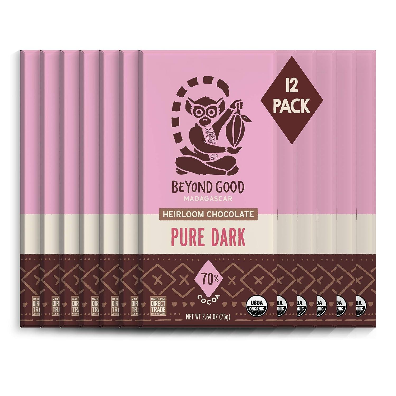 Beyond Good 70% Cheap mail order shopping Pure Dark Chocolate Bars D gift Organic 12 Pack
