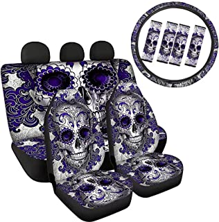 XYZCANDO Purple Sugar Skull Car Front Back Seat Covers Full Set of 9pcs Include Seatbelt Shoulder Strap/15 Steering Wheel Cover Comfortable Polyester Fabric for Family Cars Interior