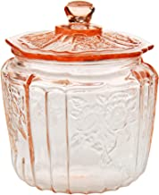 HOME-X Depression Style Glass Cookie and Candy Jar with Lid-Round Flour and Sugar Canister-Vintage Biscuit Jar, Cookie Jar...