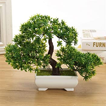 DecoratingLives Mini Cute Artificial Plants Bonsai Potted Plastic Faux Green Grass Fake Topiaries Shrubs for Home Decor, Washroom and Office Decor