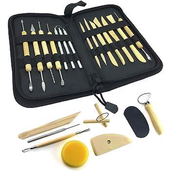 Wartoon, 22 piezas, todo en uno, herramientas de modelado de arcilla de madera Sculpey Sculpture, kit de herramientas de cerámica con estuche de almacenamiento conveniente: Amazon.es: Hogar