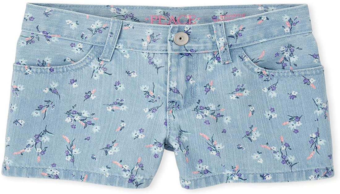 The Children's Place Girls' In a popularity Shorts Printed Denim 25% OFF