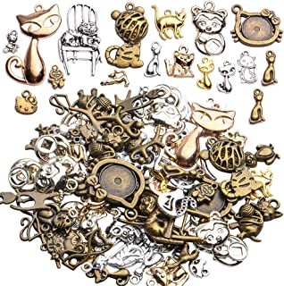 10pcs cat charm gold tone charms jewelry supply jewelry findings animal pendant craft supplies enamel charm 15x32mm