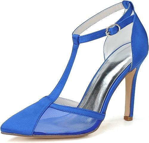 mujeres elegante tacón de aguja bombas zapatos punta transparente sandalias