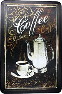 ARTCLUB Vintage Coffee, Metal Tin Sign, Antique Plaque Poster Kitchen Home Cafe Wall Decor