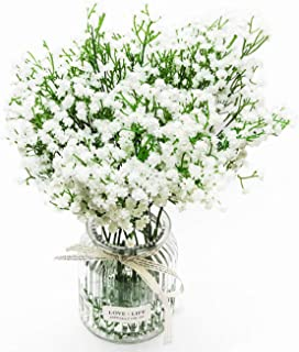 DuHouse 10Pcs Babys Breath Artificial Flowers Fake Babies Breath Flower Real Touch Gypsophila Floral in Bulk for Bridal Bouquet Wedding Party Home Outdoor Decoration (White Long Stem)