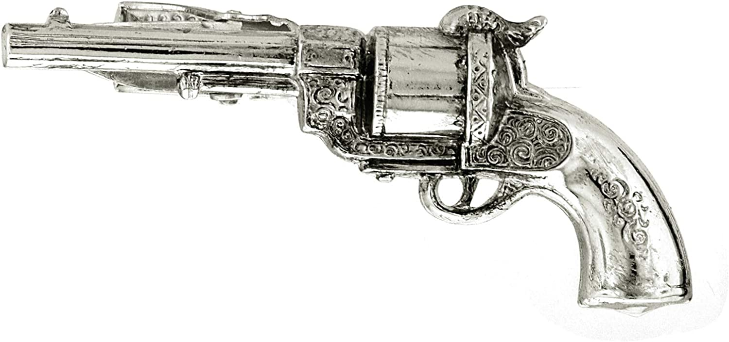 Modern Pistol English Pewter Design Tie Clip with optional initial engraving in gift box