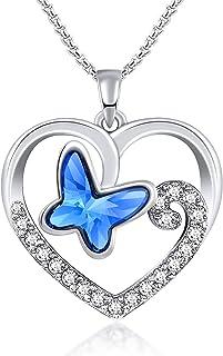 Collana con Ciondolo Farfalla Cuore per Donna di Swarovski,Regalo di Anniversario Festa della Mamma Compleanno per Lei