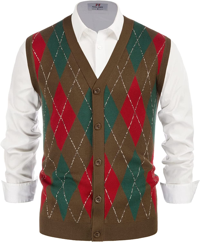 70s Jackets, Furs, Vests, Ponchos PJ PAUL JONES Mens Sweater Vest Cardigan Button Front Knitwear Contrast Color Argyle Sweater Vest  AT vintagedancer.com