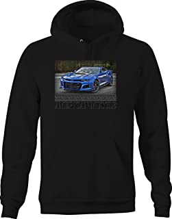 Bold Imprints American Muscle Muscle Car Camaro ZL1 Racing Horsepower Graphic Hoodie for Men
