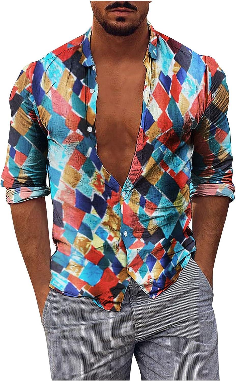UOKNICE MEN-TOPS Mens Premium Regular-fit Autumn Casual Printed Hawaiian Style Long Sleeve Shirts