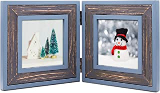 ZingVic Double Folding 4x4 Cyan-Darkgray Wood Picture Frame with Glass Front - Weathering Wood Finished - Stands Vertically on Desktop or Table Top