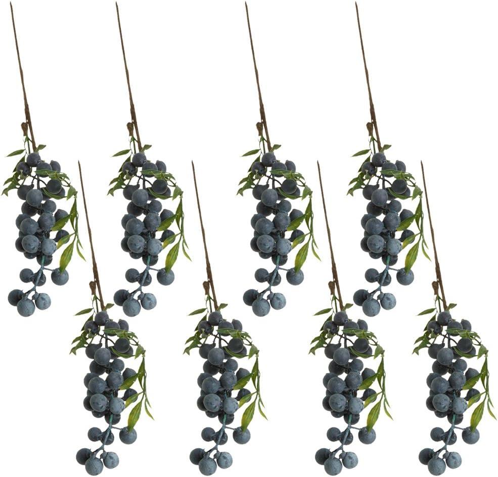 MonkeyJack 8 Pieces Artificial Lifelike Plant Fruit Berries Branches Stem Wedding Venue Bouquet Decor Crafts Blueberry