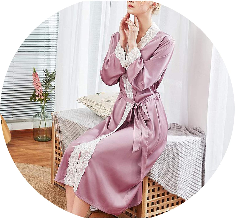 JIESENGTOO Sleepwear Satin Women Lace Trim Home Dress Kimono Bathrobe Nightgown Bride Wedding Robe