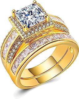 أهلو مجوهرات 3 قيراط خواتم زفاف للنساء الأميرة خاتم الخطبة مجموعة العصابات 18 كيلو ذهب أبيض مطلي هالو سيز حجم 6-10