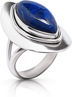 Koral Jewelry Lapis Lazuli Vintage Gipsy Ring 925 Sterling Silver Boho Chic US Size 7 8 9