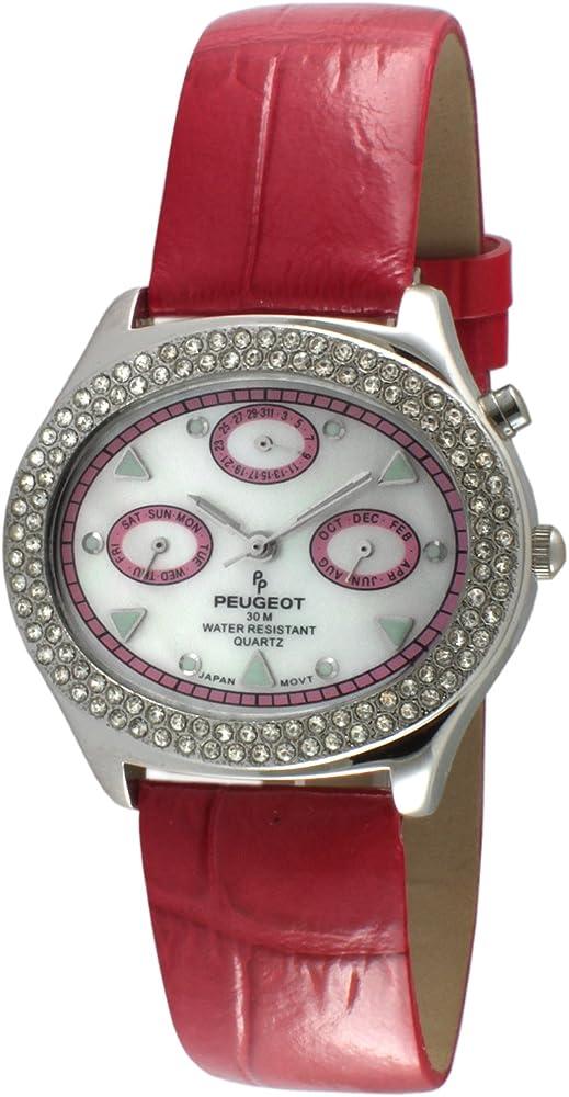 Peugeot,orologio,cronografo per donna,cinturino in pelle e cassa in acciaio 340PK