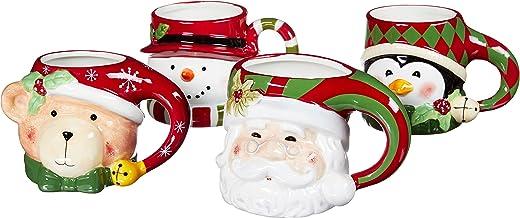 Certified International 3D, Multicolor 3-D Figural Mugs, Set of 4: Santa, Snowman,Penguin & Bear