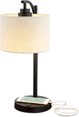 Industrial Table Lamp With Nightlight Bronze Cage Glass