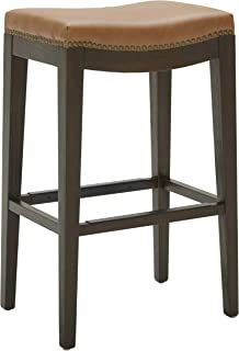 Stone & Beam Barstool with Leather and Brass Nailhead Trim, 30