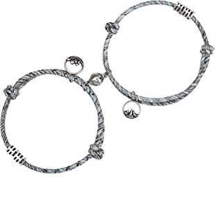 LOYALLOOK Couple Magnetic Bracelet Adjustable Mutual Attraction Weave Rope Braided Charm Pendants Bracelet with Magnetic B...
