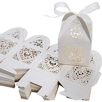 Caja de regalo, SenPuSi 50 Caja de regalo, dulces de boda, dulces, chocolate, confeti, decoración para bodas,bodas, banquetes, bodas (Beige): Amazon.es: Hogar