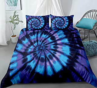 Blue Purple Tie Dye Bedding Spiral Tie Dyed Duvet Cover Set Abstract Psychedelic Swirl Pattern Hippie Boys Girls Bedding Sets Queen (90x90) 1 Duvet Cover 2 Pillowcases (Queen, Blue Purple)
