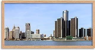 Crisco 1492 Skyline Detroit City Michigan Panorama foto rak inramad väggkonst tryck lång 25 x 30 cm