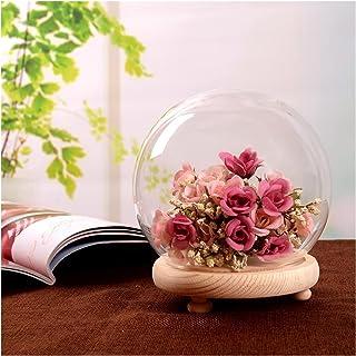 YANGYANG Allenzhang Verre Globe Afficher Dôme Couvercle Cloche Bell Jar Immortal Fleur De Rose Conservation de la Rose Vas...