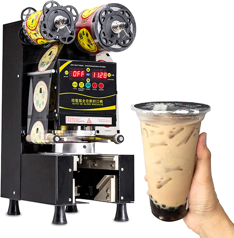 Máquina de sellado de tazas de té con leche completamente automática comercial, sellador de vasos de plástico/papel de 90/95 mm para restaurante, té con leche de burbujas, cafetería