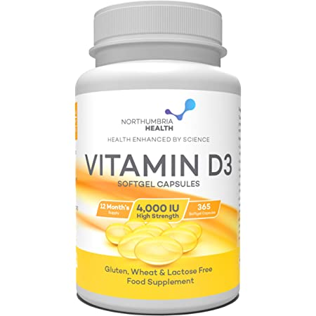 Vitamin D 4000 IU | Maximum Strength |365 Easy to Swallow Softgels | A Years Supply | High Strength Vitamin D3 | Manufactured in The UK by Northumbria Health