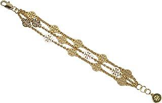 سوار طبقات ذهبي للنساء من توري بيرتش مع شعار T الخاص بالعلامة مقاس 7 انش 61871
