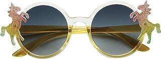 ShadyVEU Kids Small Round Circular Unicorn Colorful Glitter Toddler Girls Fashion Cute Childrens Rainbow Sunglasses