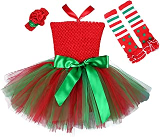 3pcs Christmas Costume for Girls Tutu Dress with Headwear and Leggings
