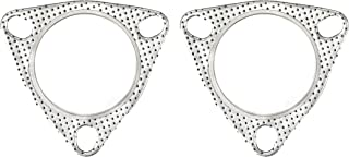PitVisit Ultra Seal 3-Bolt Exhaust Flange Gasket High Temperature for Exhaust Turbo Catback Headers Heavy Duty Graphite and Stainless Steel - Pack of 2 (2.75 Inch 70mm)