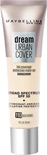 Maybelline Dream Urban Cover Flawless Coverage Foundation Makeup, SPF 50, Porcelain