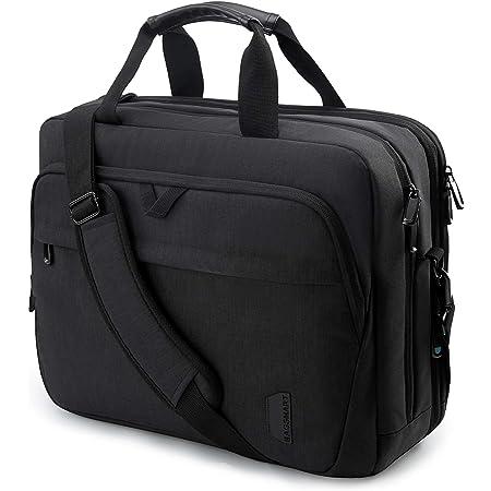 17.3 Inch Laptop Bag,BAGSMART Large Expandable Briefcase Business Travel Bag Computer Office Bag Shoulder Bag for Men Women Water Resistant Anti Theft Durable,Black