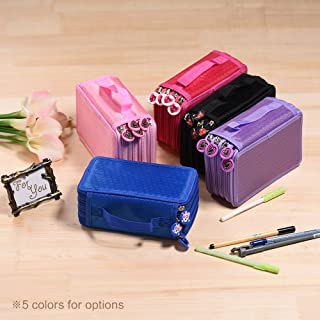 Multifunctional Large Capacity Pencil Pen Brush Bag Case Box 4 Layer Zipper 72 Holders with Carrying Handle
