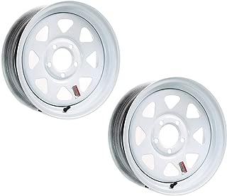 2-Pack Trailer Rim Wheel 13 in. 13X4.5 5 Lug Hole Bolt White Spoke