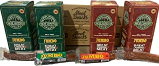 Hot & Mild 72g Jumbo Smoked Sausage Bulk Box, 2x Hot / 2x Mild Caddies of Meat Snacks by Great Canadian Meat, Meat Stick S...