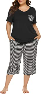 IN'VOLAND Womens Plus Size Pajama Set Capri Pants Striped Short Sleeve Pj Sets Sleepwear Set with Pockets