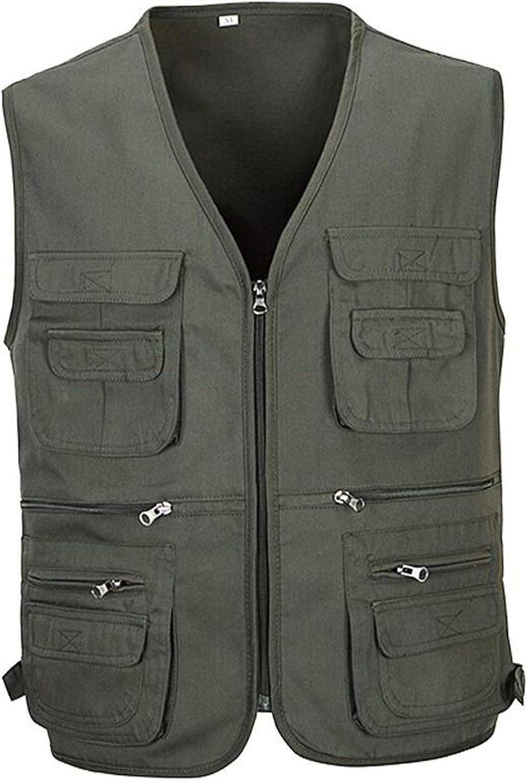 Man Outdoor Waterproof Tactic MultiPocket Vest Photography Casual Jacket,GreyXL