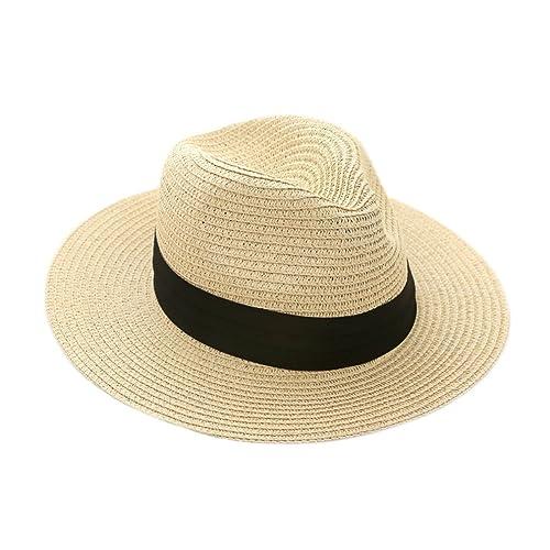 9ff2dd96a50 iHomey Panama Straw Sun Hat Women   Men Foldable Wide Brim Beach Sun Caps