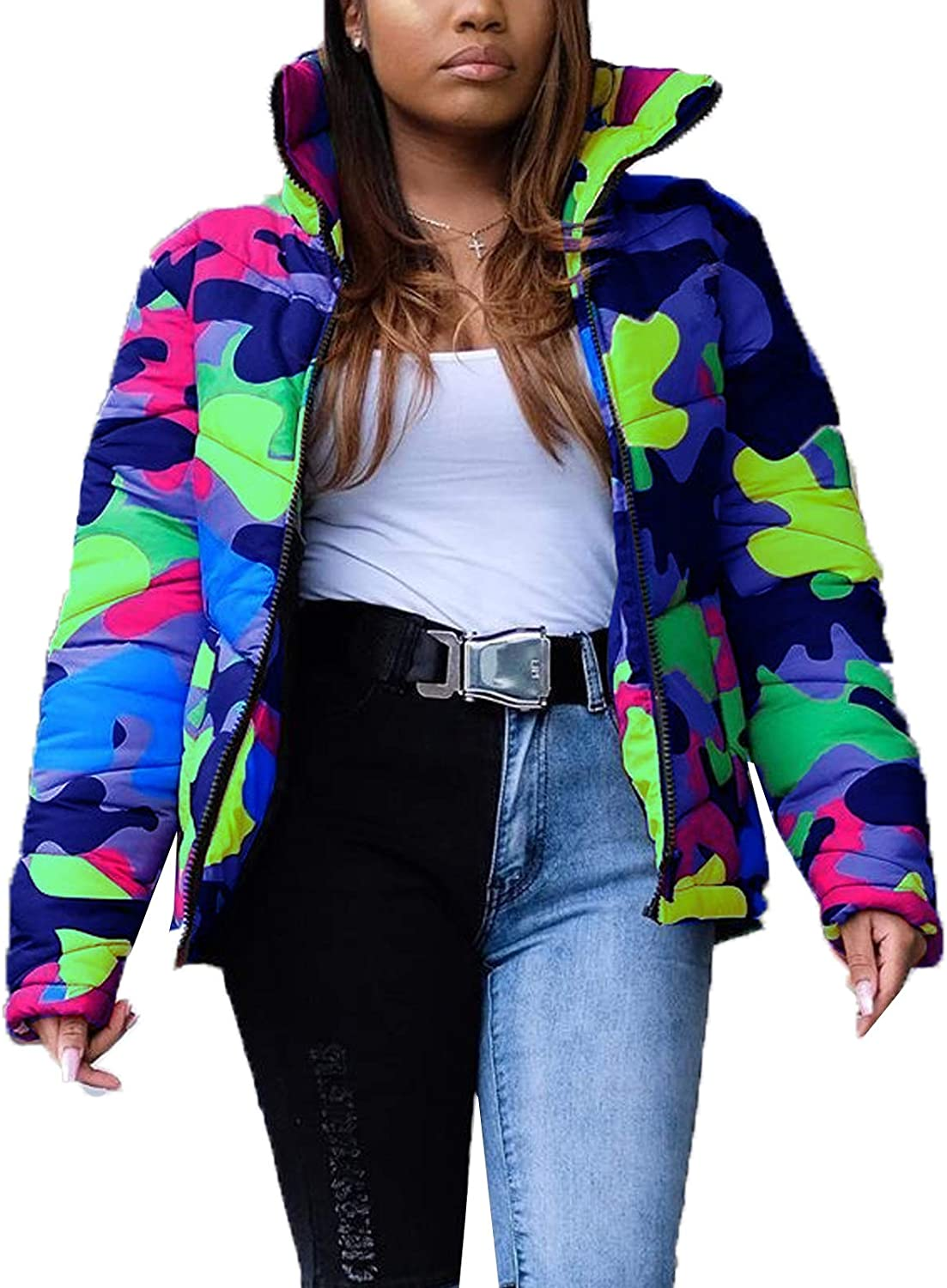 Cocoinsity Womens Quilted DownCoat Lightweight Jacket Padded Tie Dye Parkas Short Coat Outwear