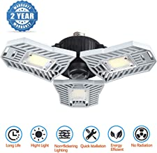 LED Garage Lights, E27 Deformable LED Garage Ceiling Lights 6000 Lumens, 60W CRI 80 Led Shop Lights for Garage, Garage Lig...