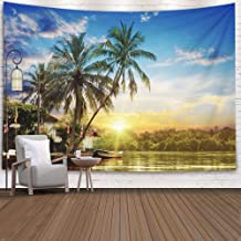 Crannel Divination Tapestry, River Beautiful Sunrise Tropical Palms Tapestry 80x60 Inches Wall Art Tapestries Hanging for Dorm Room Living Home Decorative,Brown Peach
