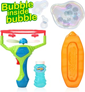 Bubble Machine, Vogek Gun Shooter Bubble Blower Wand Bubble Fan Bubble Maker Playing Game Toy Gift with One Bottle of Soap Solution for Party, Outdoor & Indoor Games, Bubble Gifts for Kids Girls Boys