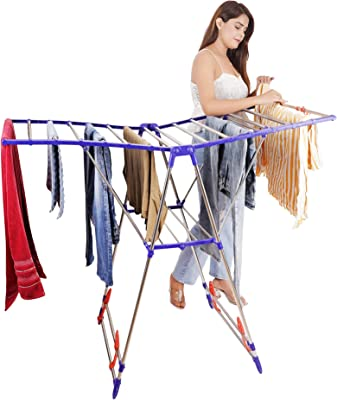I Homz Winsome Heavy Duty Stainless Steel Floor Cloth Dryer Stand IH-CD-073 (2 Tier)